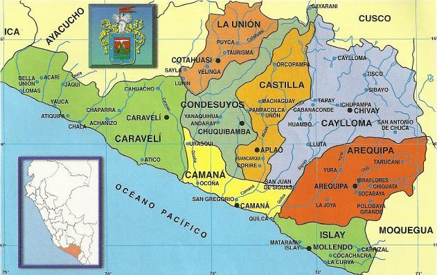 Mapa político de Arequipa